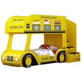 Детская двухъярусная кровать Red River Автобус Школьный Люкс (желтый)