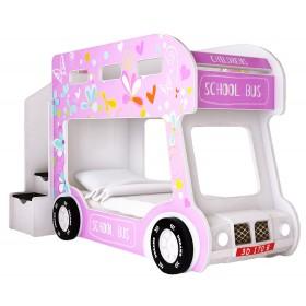 Детская двухъярусная кровать Red River Автобус Лето Люкс (розовый)