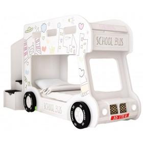 Детская двухъярусная кровать Red River Автобус Город Люкс (белый)