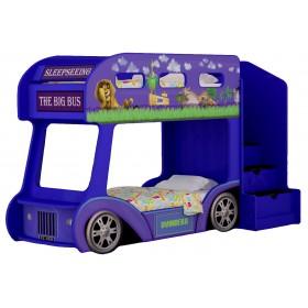 Двухъярусная детская кровать-автобус Red River Мадагаскар (синий)