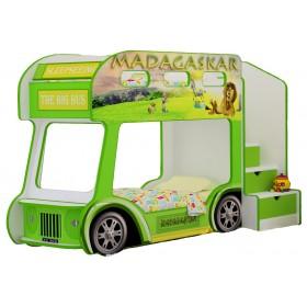 Двухъярусная детская кровать-автобус Red River Мадагаскар Престиж