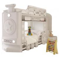 Детская двухъярусная кровать Red River Паровоз-3D White