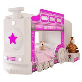Детская двухъярусная кровать Red River Паровоз-3D Pink