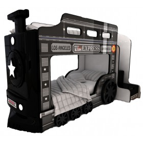 Детская двухъярусная кровать Red River Паровоз-3D Black Jack