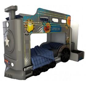 Детская двухъярусная кровать Red River Паровоз-3D Gray