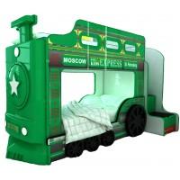Детская двухъярусная кровать Red River Паровоз-3D Green