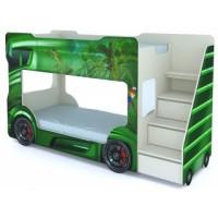Детская двухъярусная кровать Vivera Mebel Автобус (зеленый)