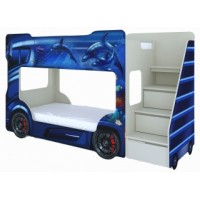 Детская двухъярусная кровать Vivera Mebel Автобус (синий)